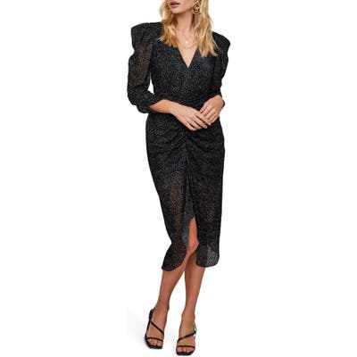 Astr The Label Toulouse Beaded Ruched Midi Dress, Black