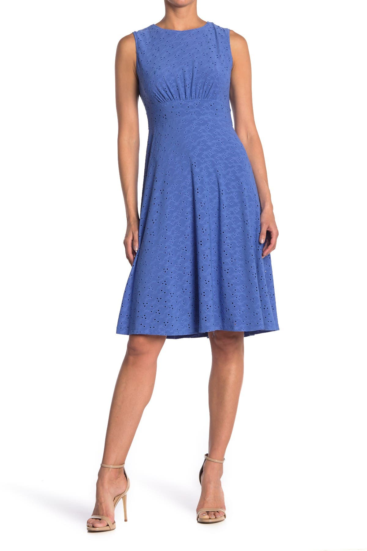 Image of London Times Jersey Eyelet Midi Dress