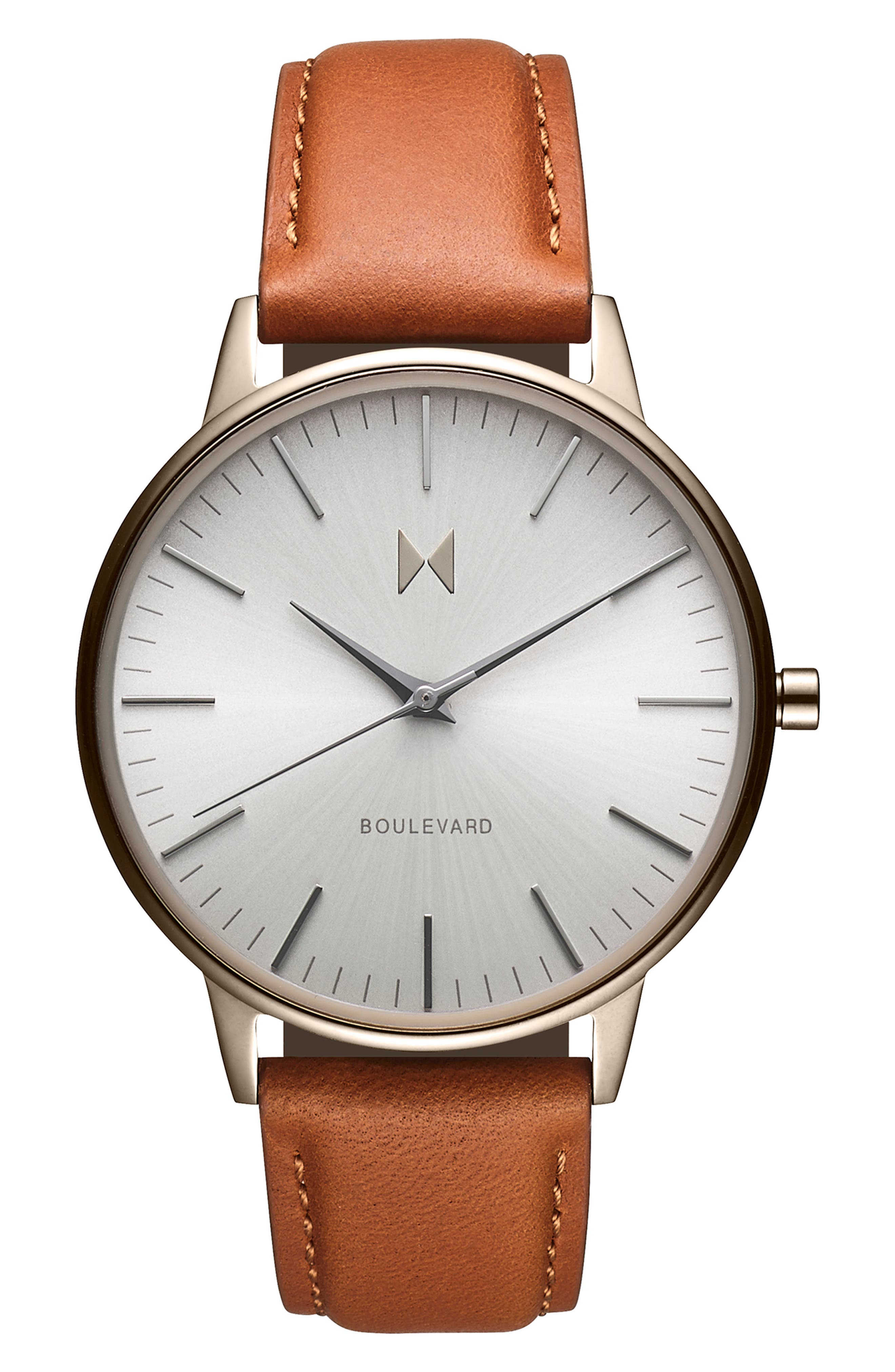 Boulevard Leather Strap Watch