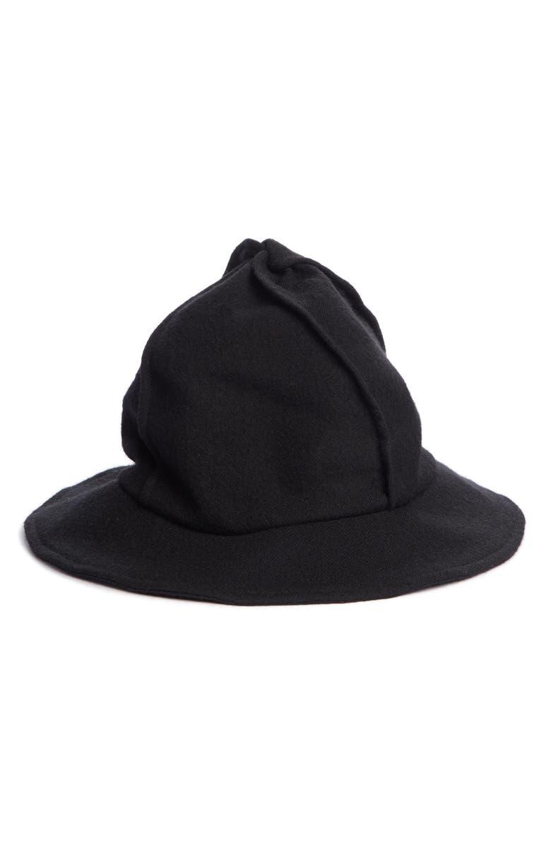 Y'S BY YOHJI YAMAMOTO Four Panel Twist Wool Hat, Main, color, BLACK