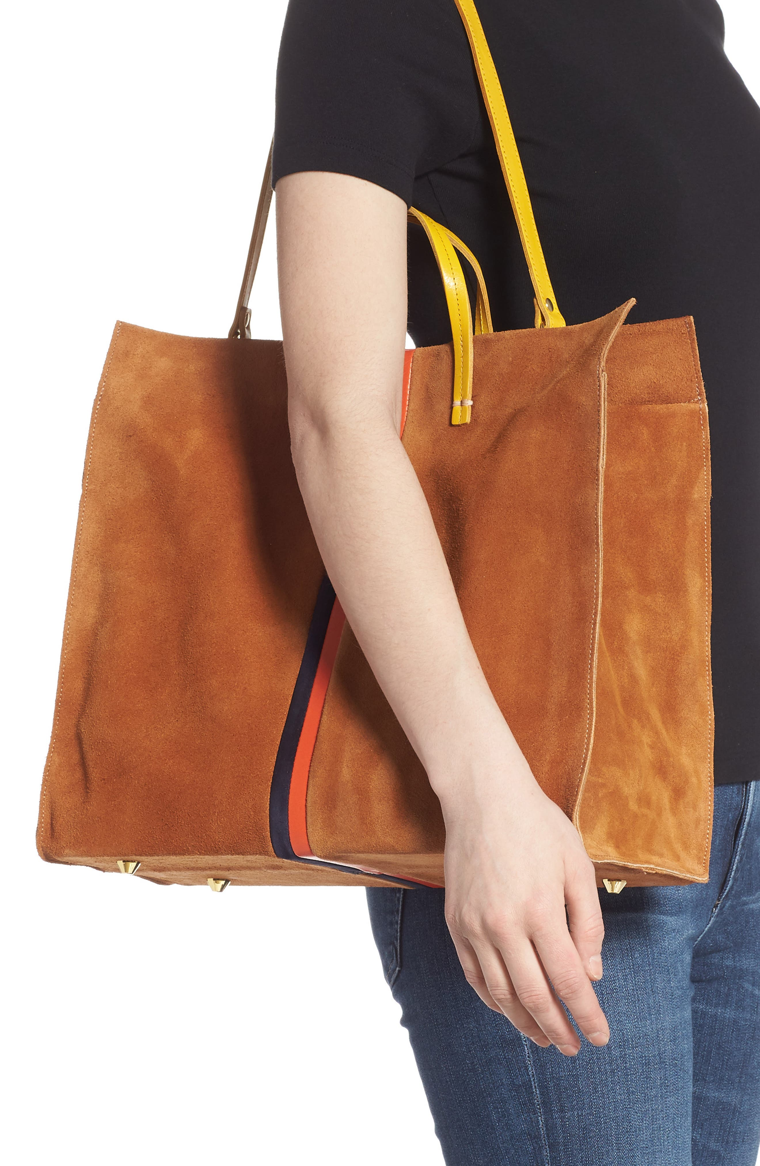 ,                             Simple Leather Tote,                             Alternate thumbnail 2, color,                             CAMEL/ NAVY RED STRIPES