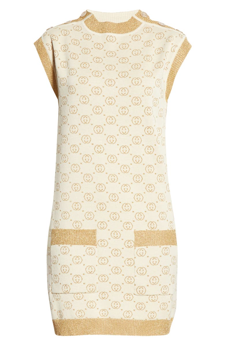 GUCCI Interlocking-G Metallic Jacquard Wool Sweater Minidress, Main, color, CREAM/ GOLD