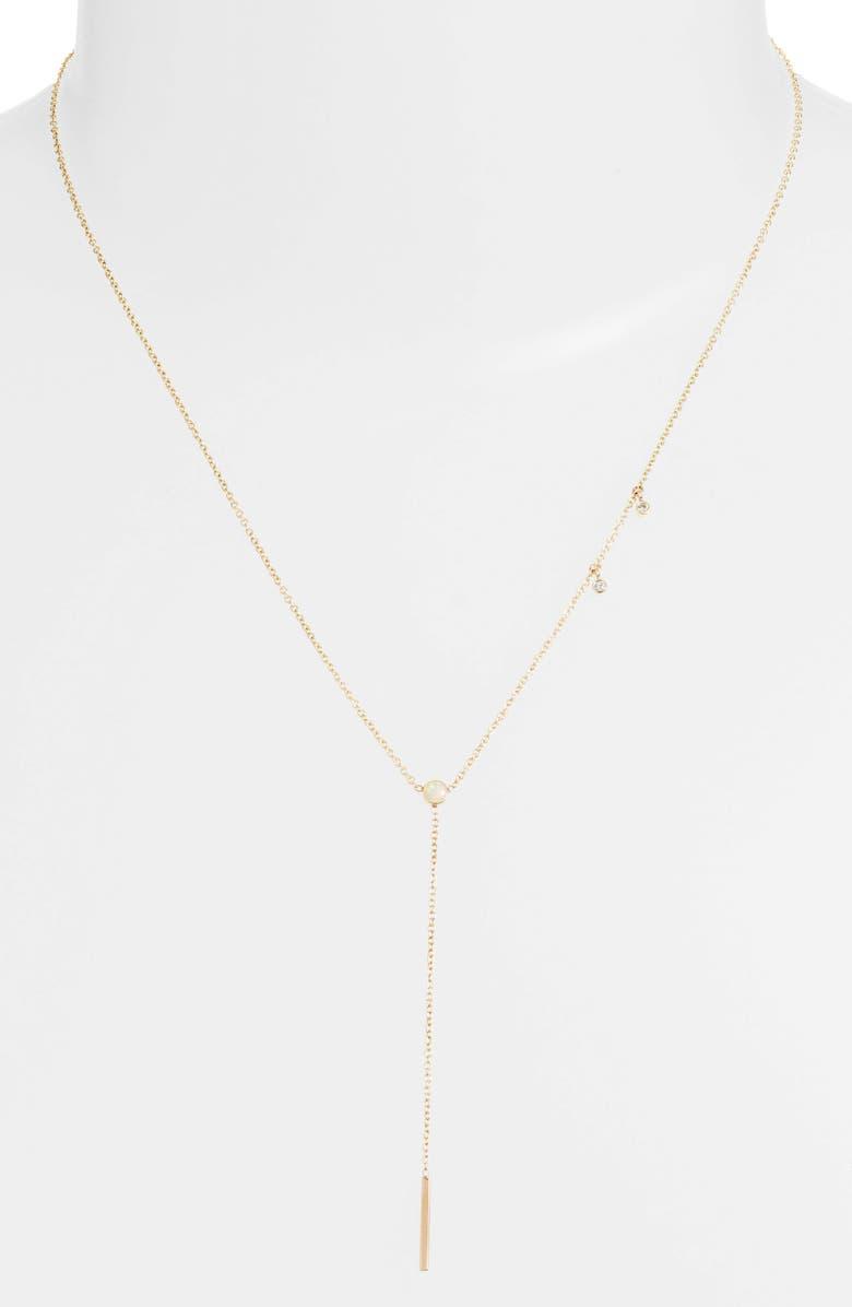 ZOË CHICCO Diamond & Opal Bar Drop Lariat Necklace, Main, color, YELLOW GOLD