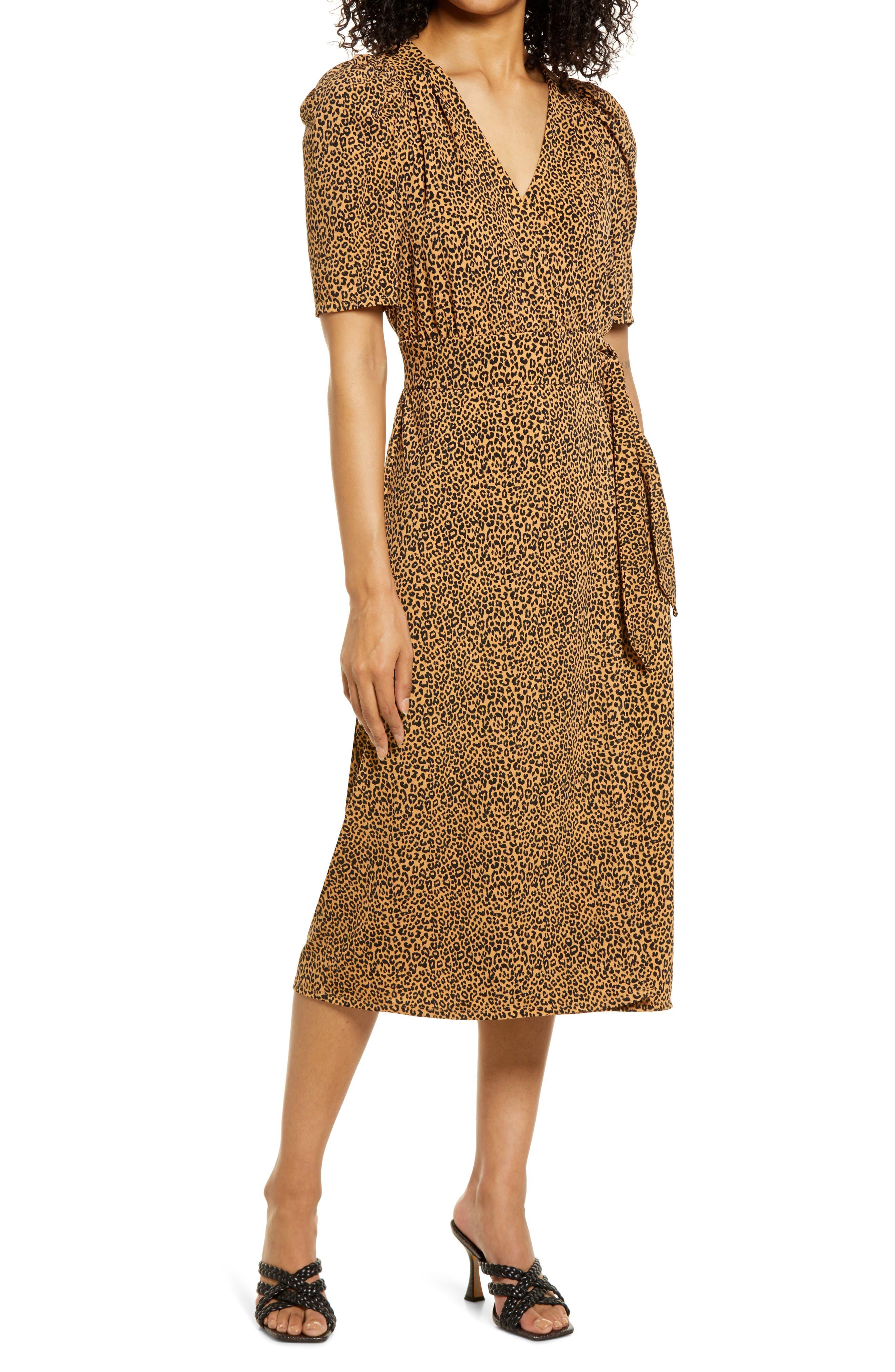 Leopard Print Wrap Midi Dress
