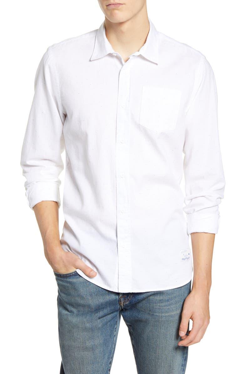 SCOTCH & SODA Fresh Mélange Relaxed Fit Neppy Button-Up Shirt, Main, color, DENIM WHITE MELANGE