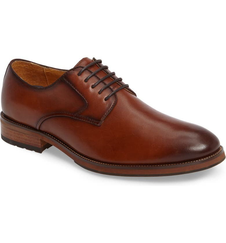 FLORSHEIM Blaze Plain Toe Derby, Main, color, COGNAC LEATHER