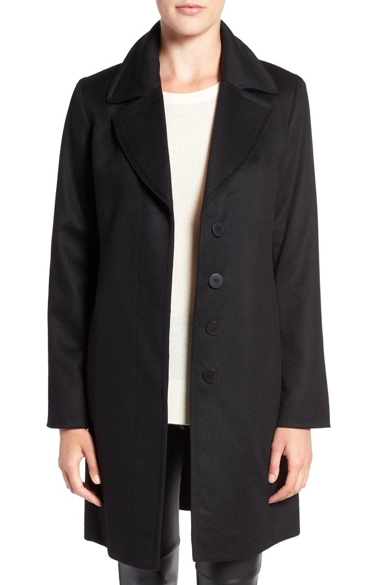 FLEURETTE Notch Collar Lightweight Cashmere Coat, Main, color, 001
