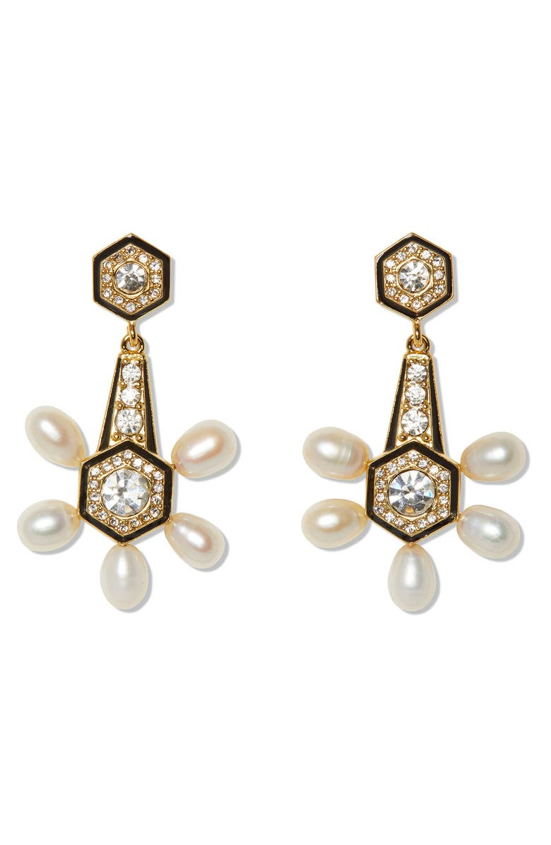 VINCE CAMUTO Pearl & Enamel Drop Earrings, Main, color, GOLD