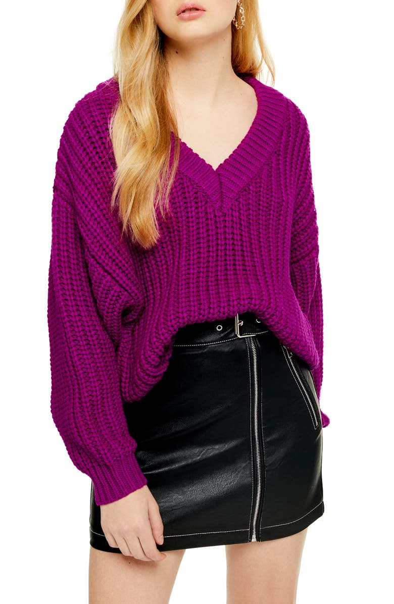 TOPSHOP Oversize V-Neck Sweater, Main, color, PURPLE