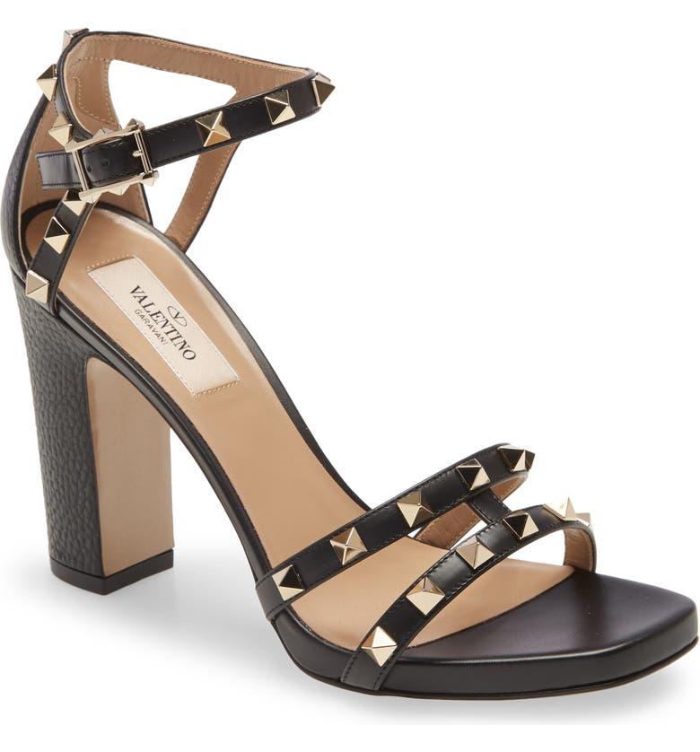 VALENTINO GARAVANI Valentino Rockstud Strappy Block Heel Sandal, Main, color, BLACK
