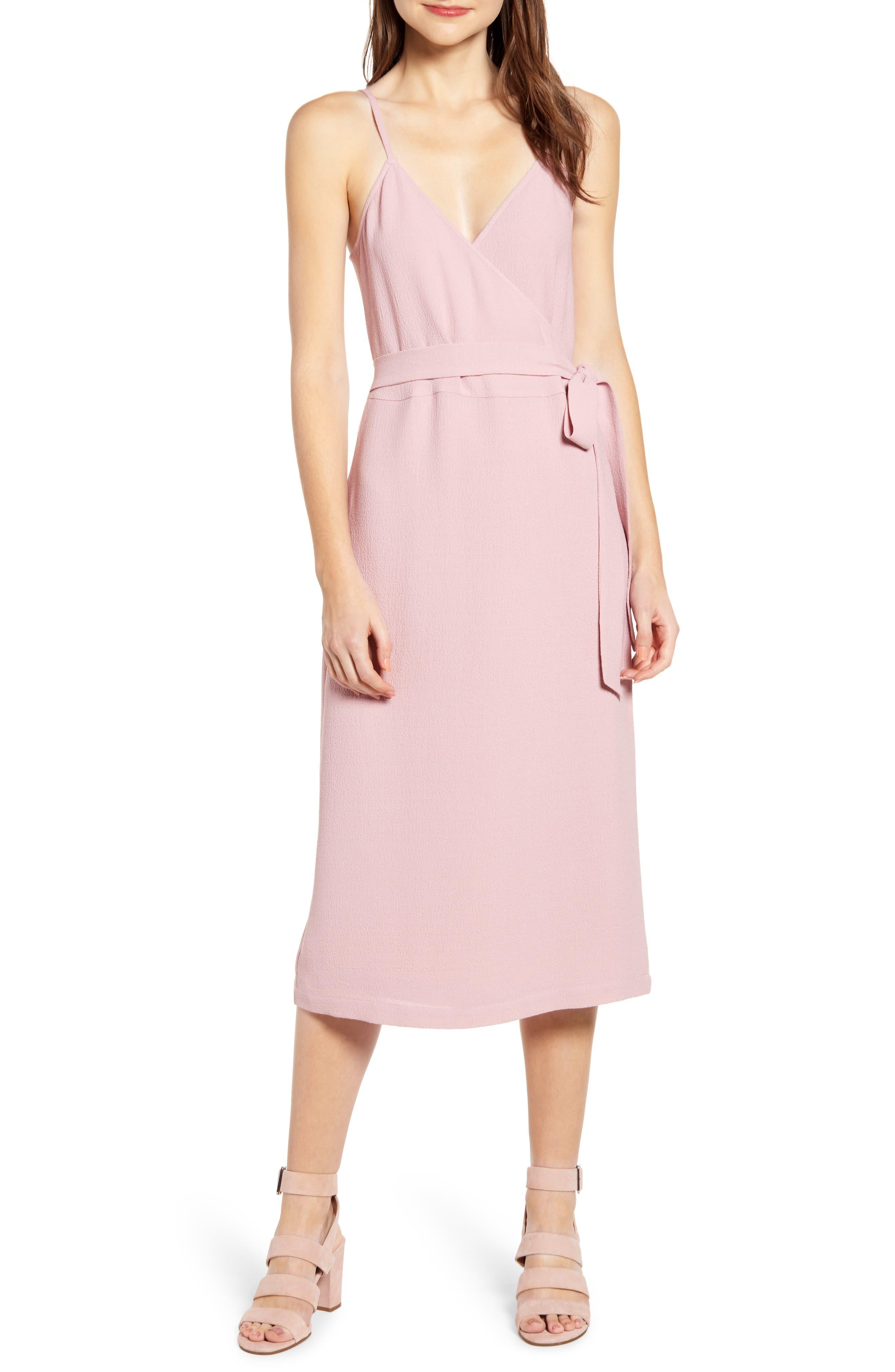 8cfd1f0d3d Chelsea28 Crepe Wrap Midi Dress, Pink
