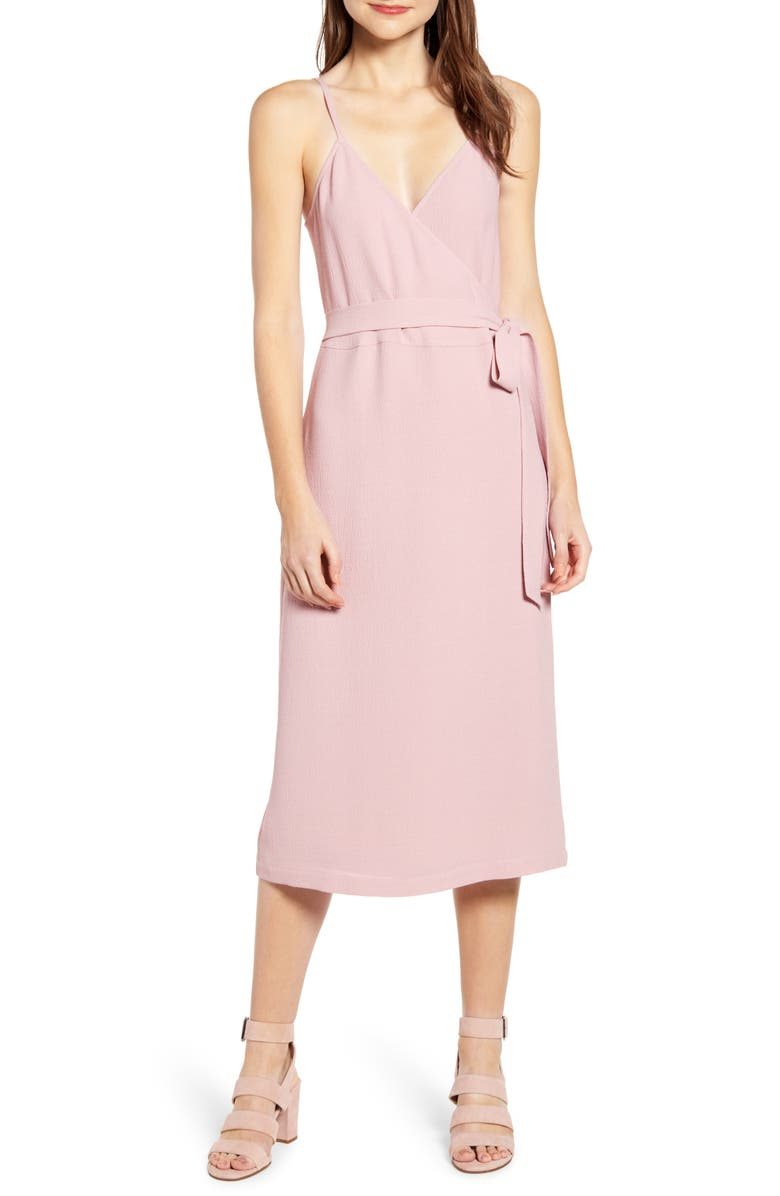 f0c25431bcd Crepe Wrap Midi Dress, Main, color, PINK ZEPHYR
