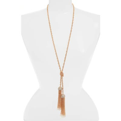 Stella + Ruby Crystal Embellished Chain Tassel Lariat Necklace