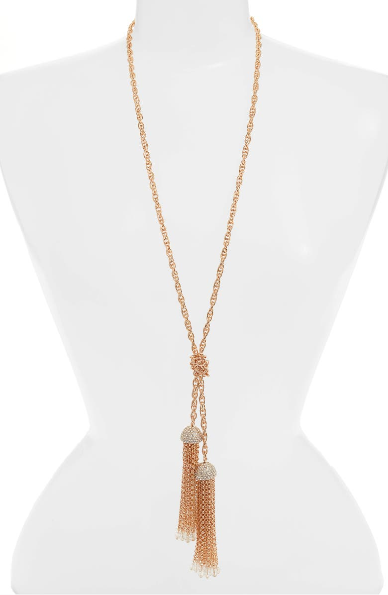 STELLA + RUBY Crystal Embellished Chain Tassel Lariat Necklace, Main, color, GOLD-CRYSTAL