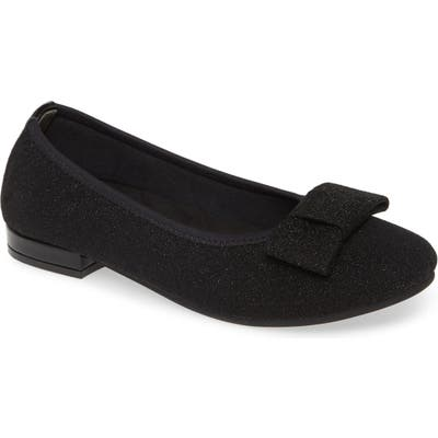 David Tate Teresa Glitter Bow Flat- Black