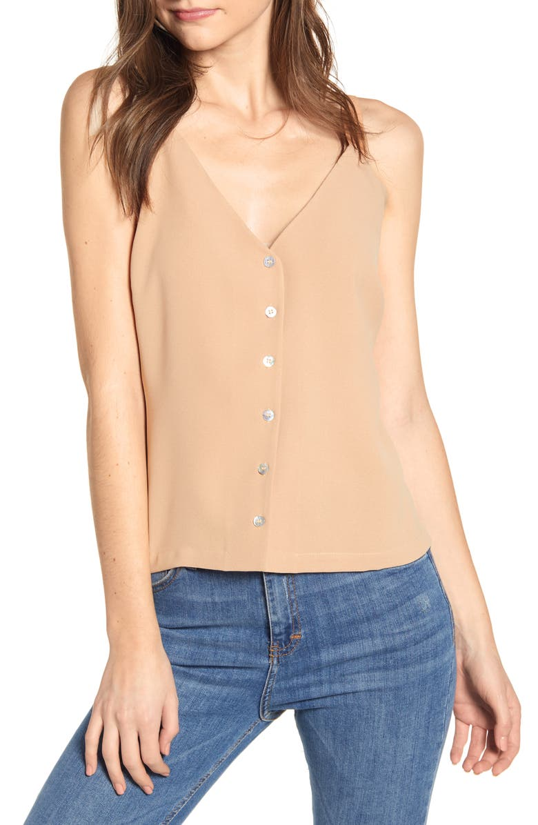 CODEXMODE Button Front Tank Top, Main, color, CAMEL