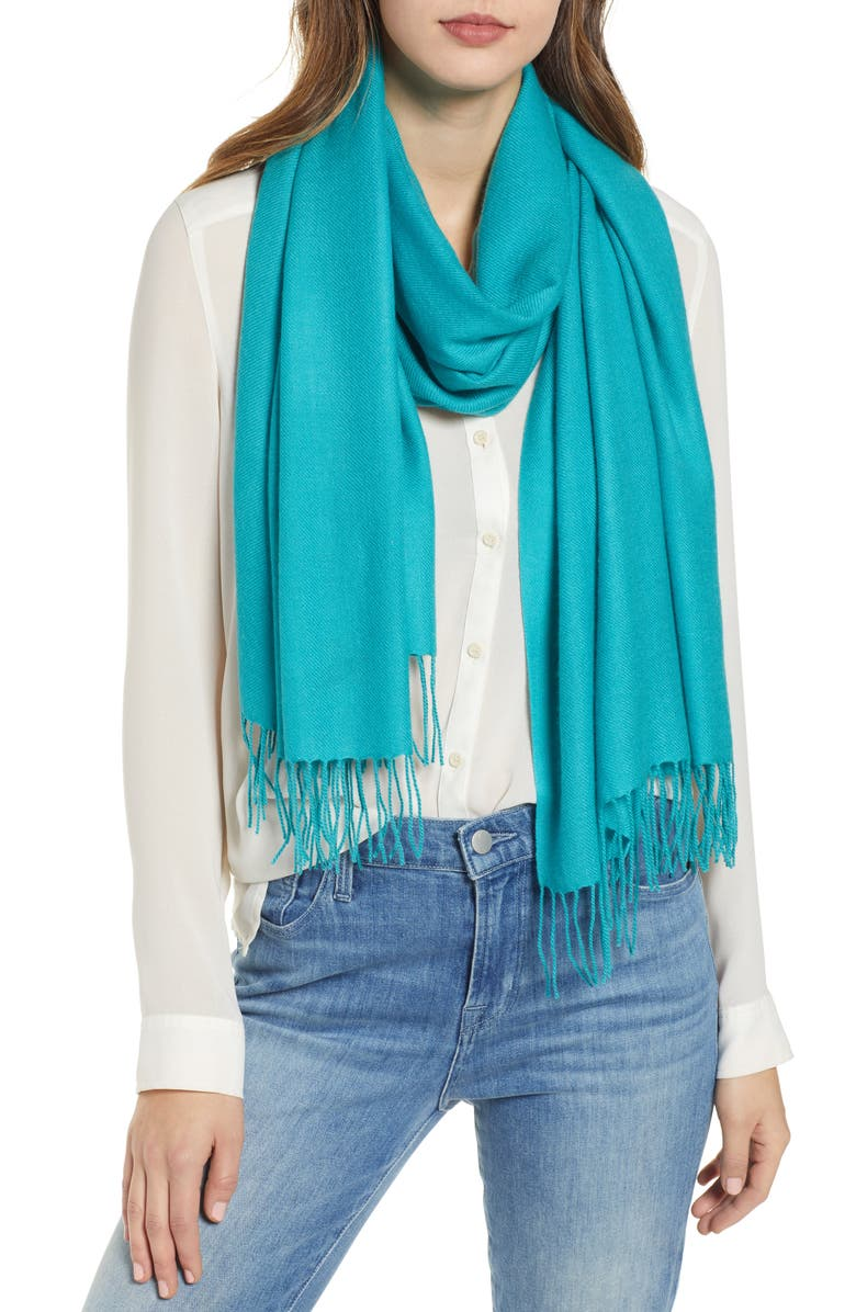NORDSTROM Tissue Weight Wool &Cashmere Scarf, Main, color, TEAL VERIDIAN