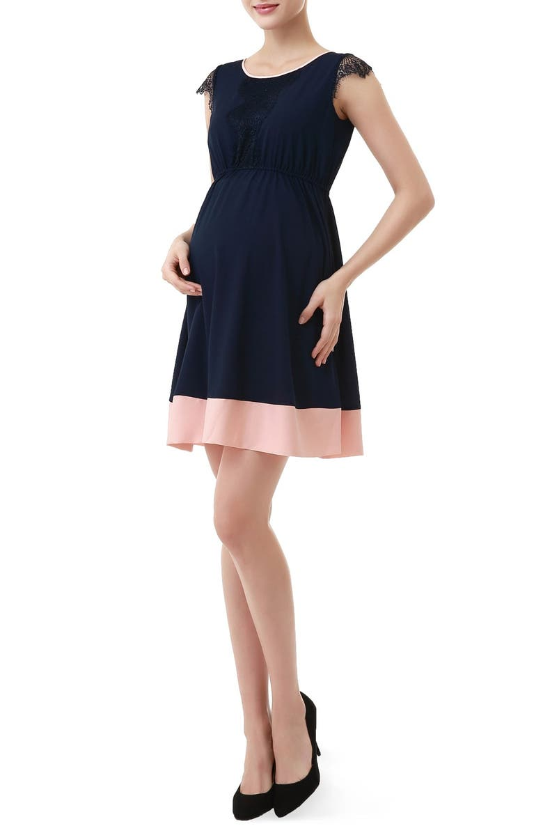 KIMI AND KAI Nell Fit & Flare Maternity Dress, Main, color, NAVY