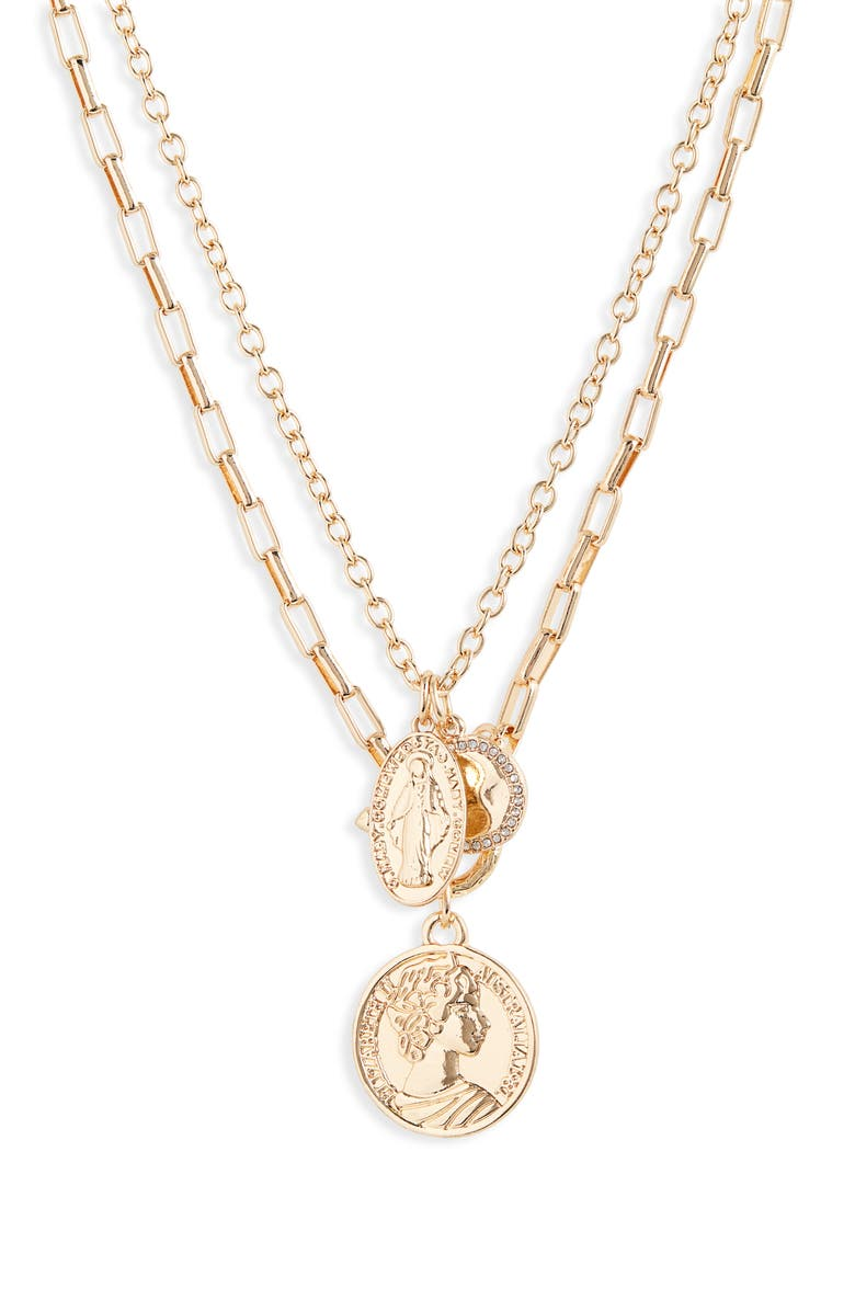 BP. Layered Chain Medallion Necklace, Main, color, CLEAR- GOLD