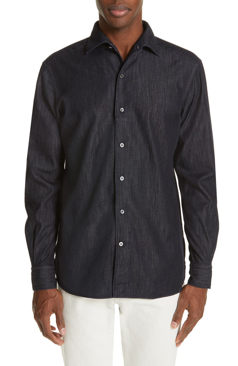 ERMENEGILDO ZEGNA Slim Fit Chambray Shirt, Main, color, INDIGO