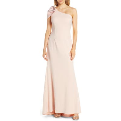 Petite Eliza J One-Shoulder A-Line Gown, Pink