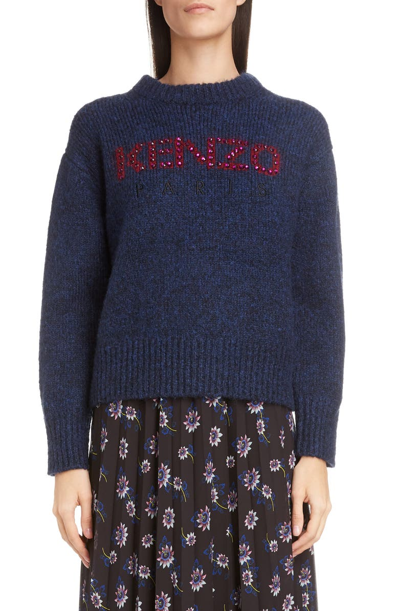 KENZO Embellished Logo Sweater, Main, color, NAVY BLUE