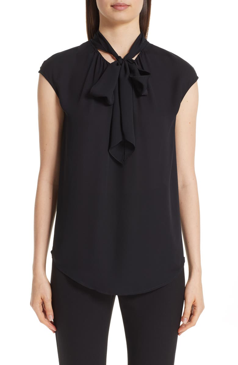 St John Collection Tie Neck Double Silk Georgette Shell