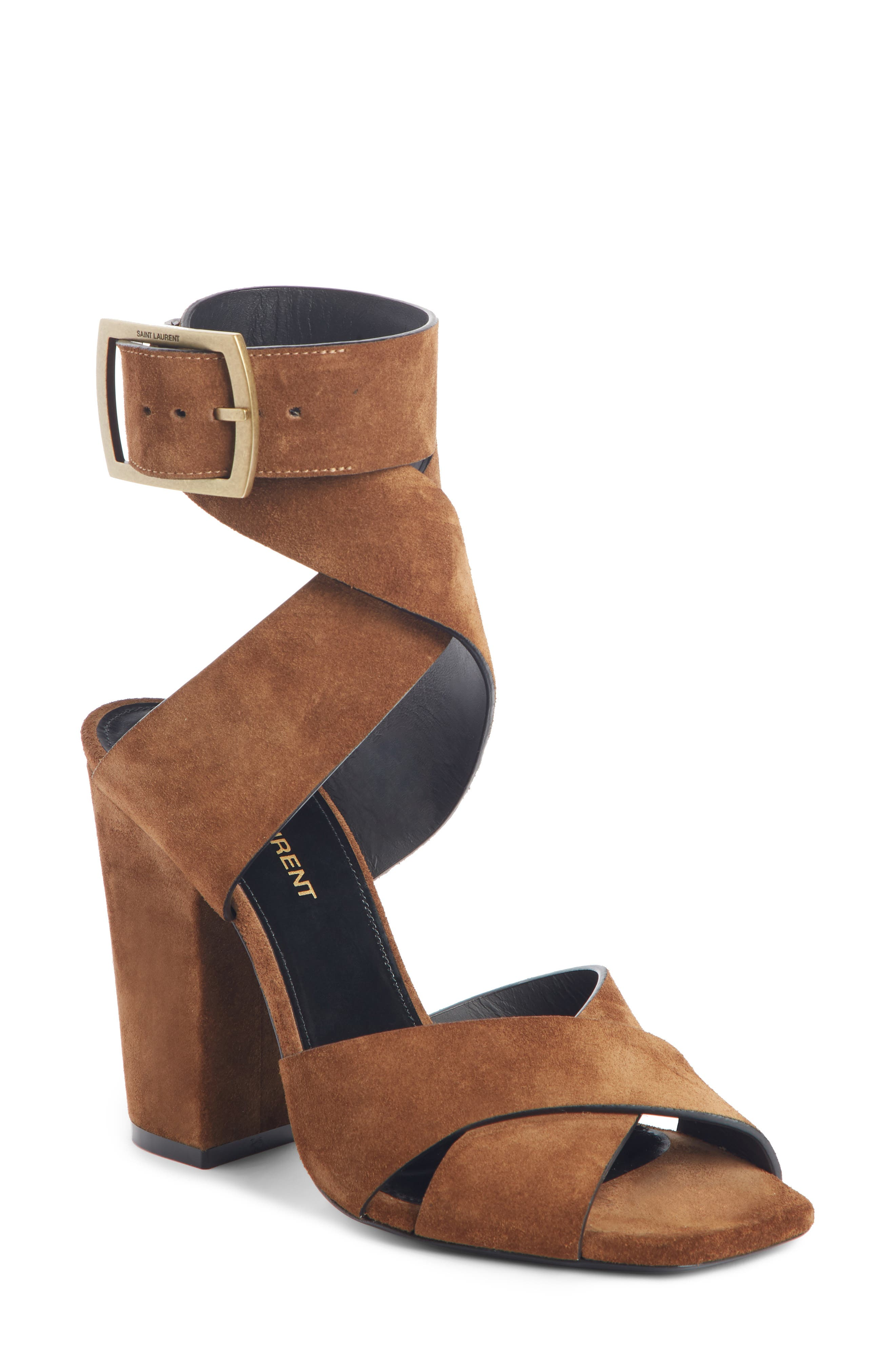 Saint Laurent Jodie Ankle Wrap Sandal, Brown