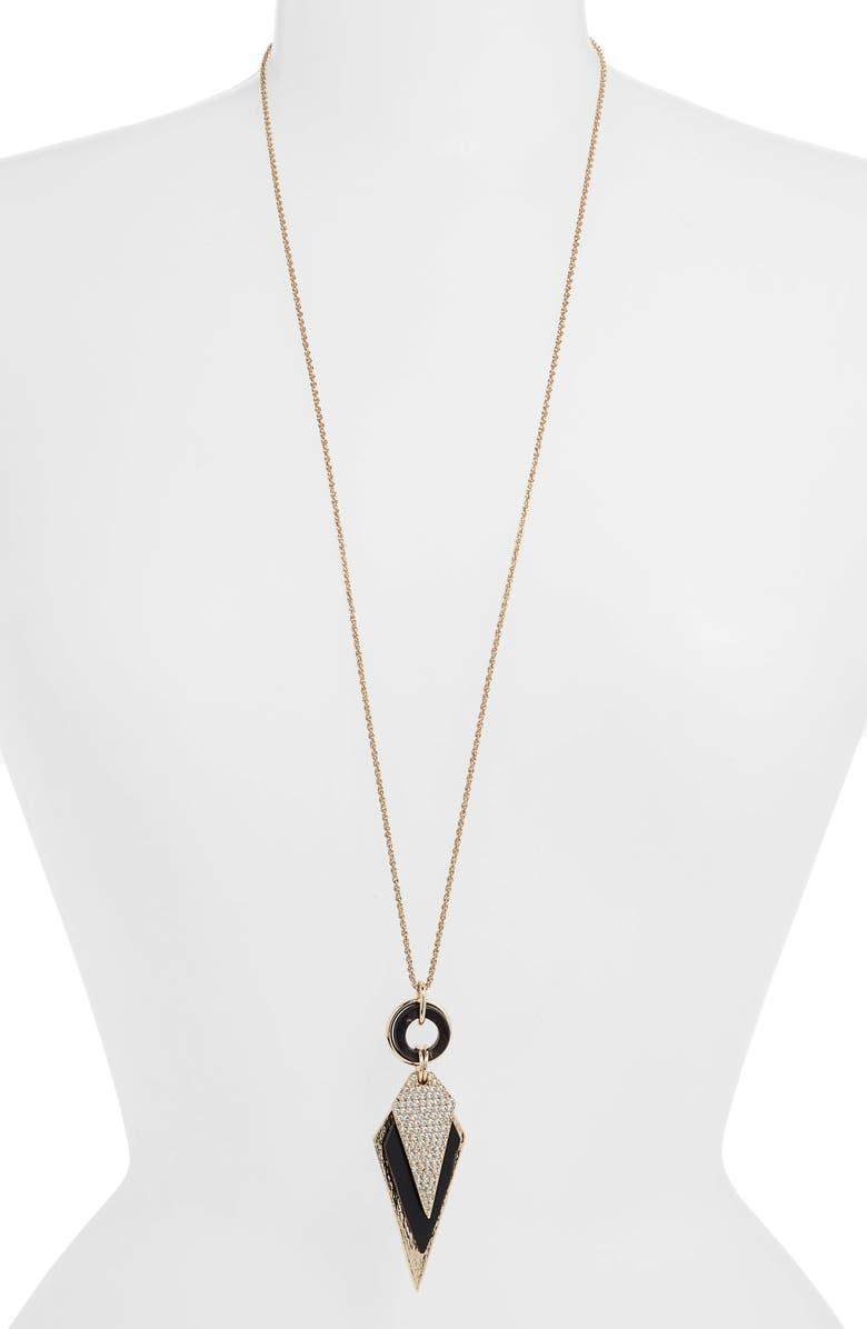 AKOLA Crystal & Horn Pendant Necklace, Main, color, BLACK