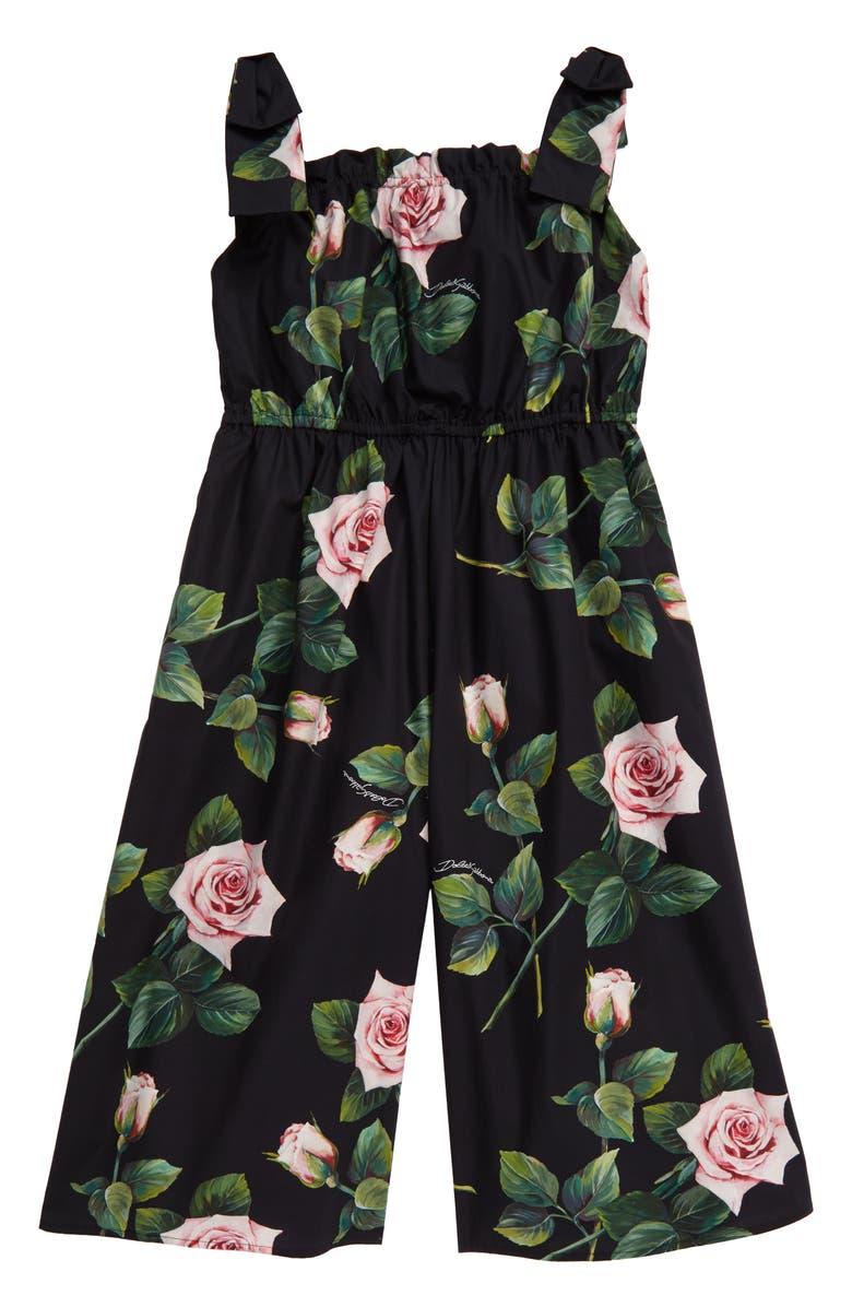 DOLCE&GABBANA Floral Print Jumpsuit, Main, color, ROSE ROSA FDO NERO