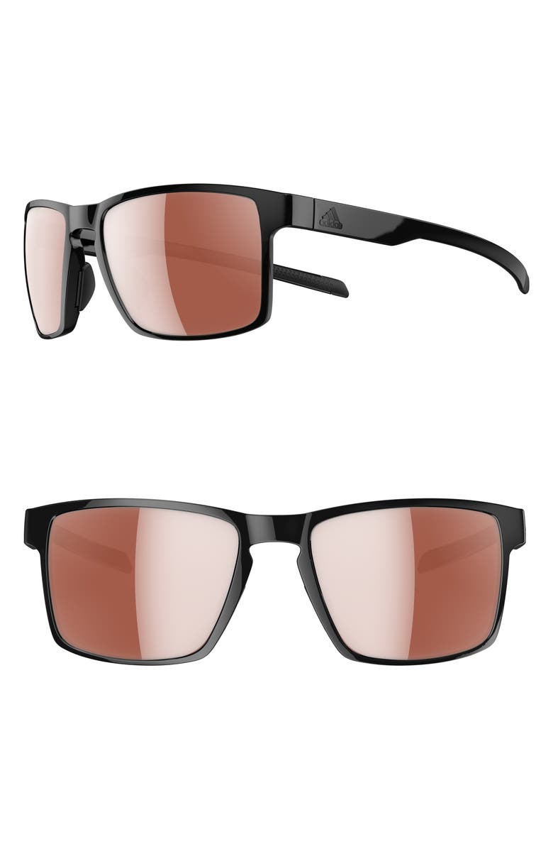 ADIDAS Wayfinder LST 56mm Mirrored Sport Sunglasses, Main, color, SHINY BLACK/ ACTIVE SILVER
