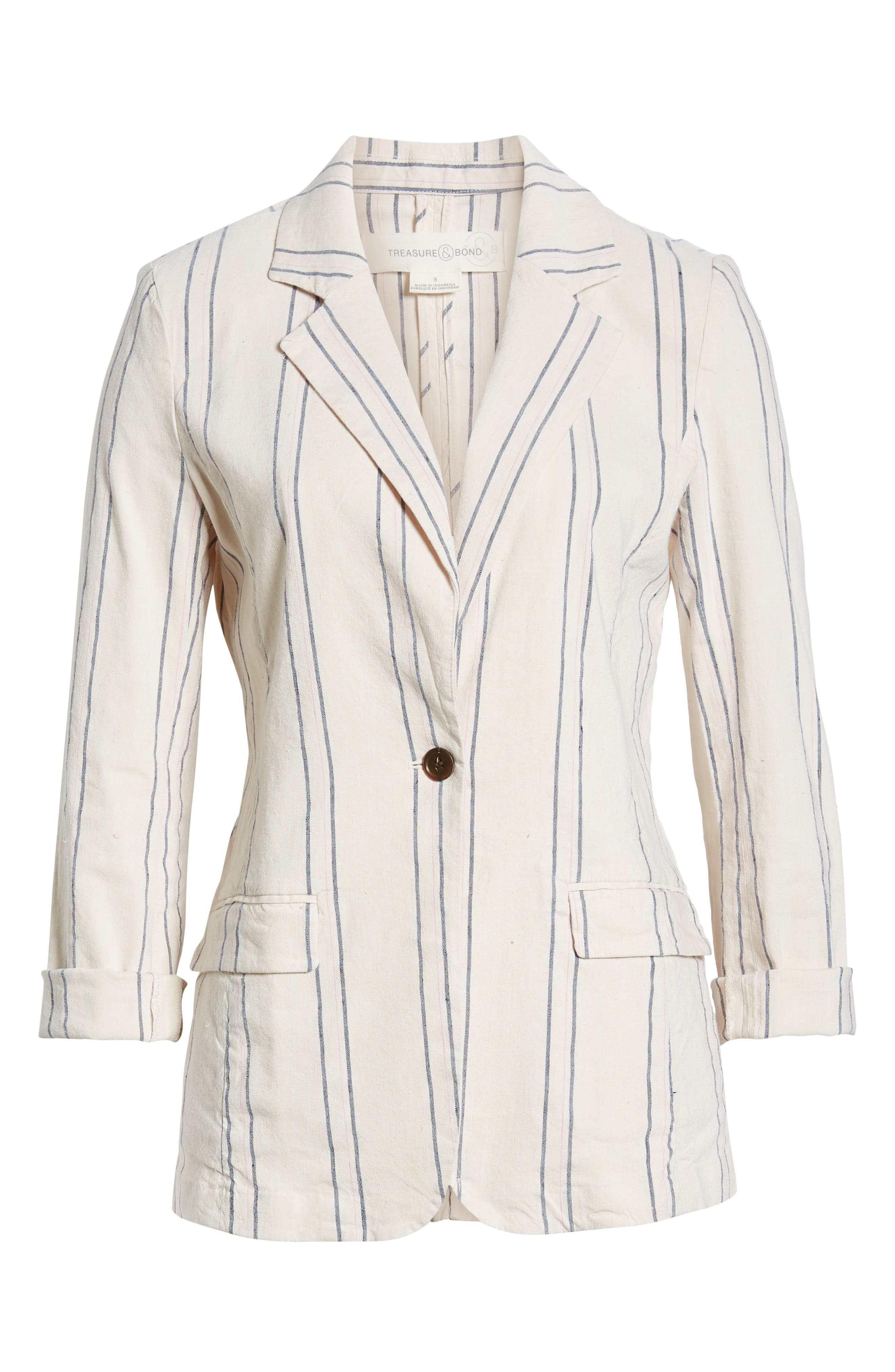 ,                             Stripe Relaxed Blazer,                             Alternate thumbnail 9, color,                             BEIGE BURNT EMMA STRIPE