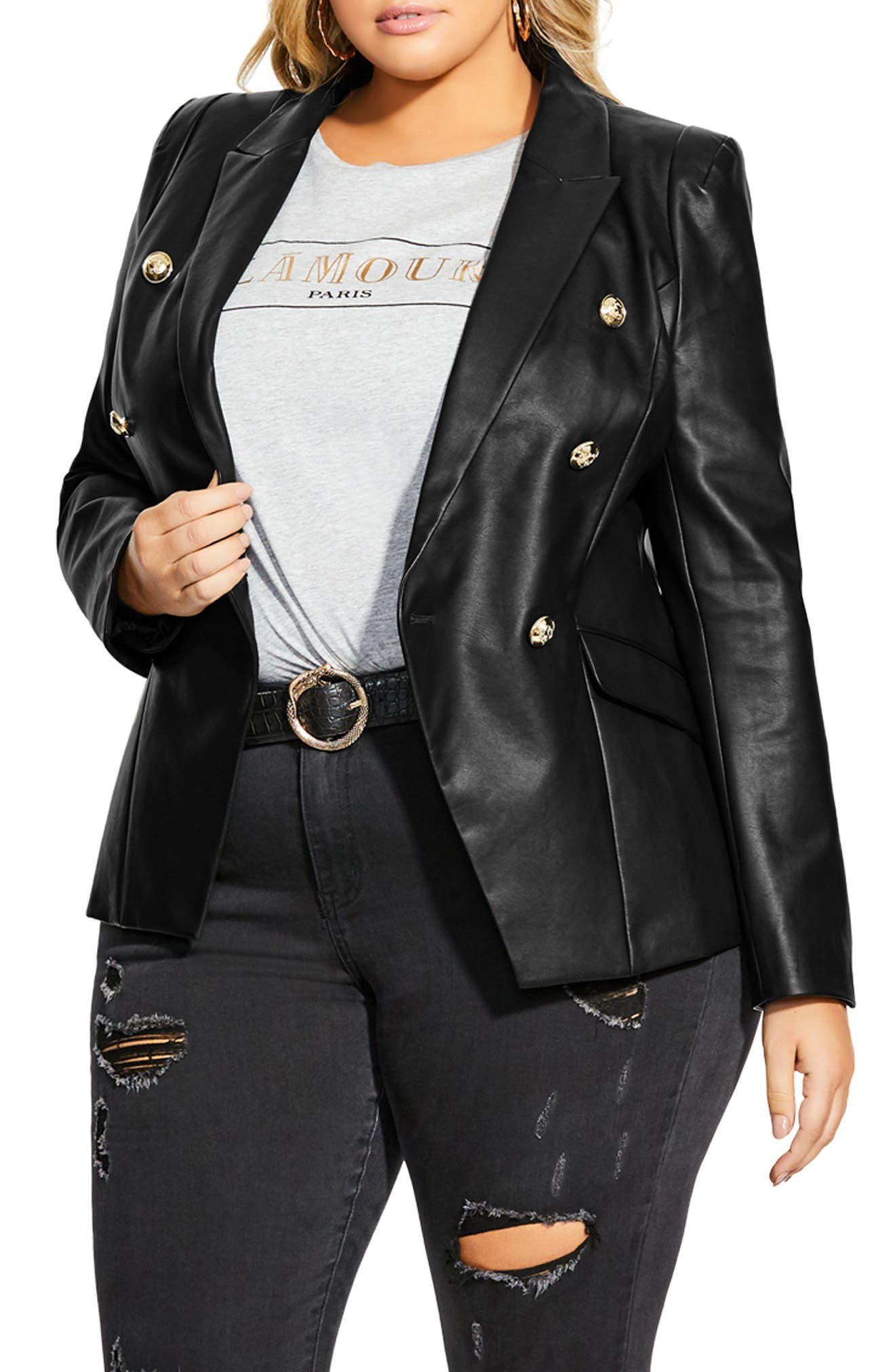 City Chic Royalty Faux Leather Jacket (Plus Size)