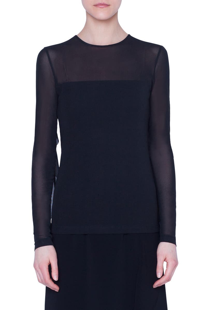 AKRIS PUNTO Long Sleeve Tulle Top, Main, color, BLACK