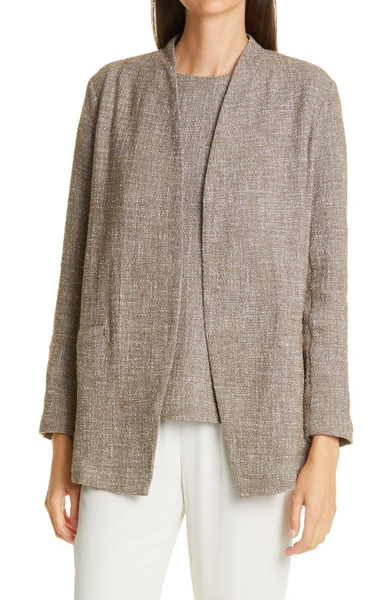 EILEEN FISHER Cotton Slub Tweed Jacket, Main, color, DRFWD