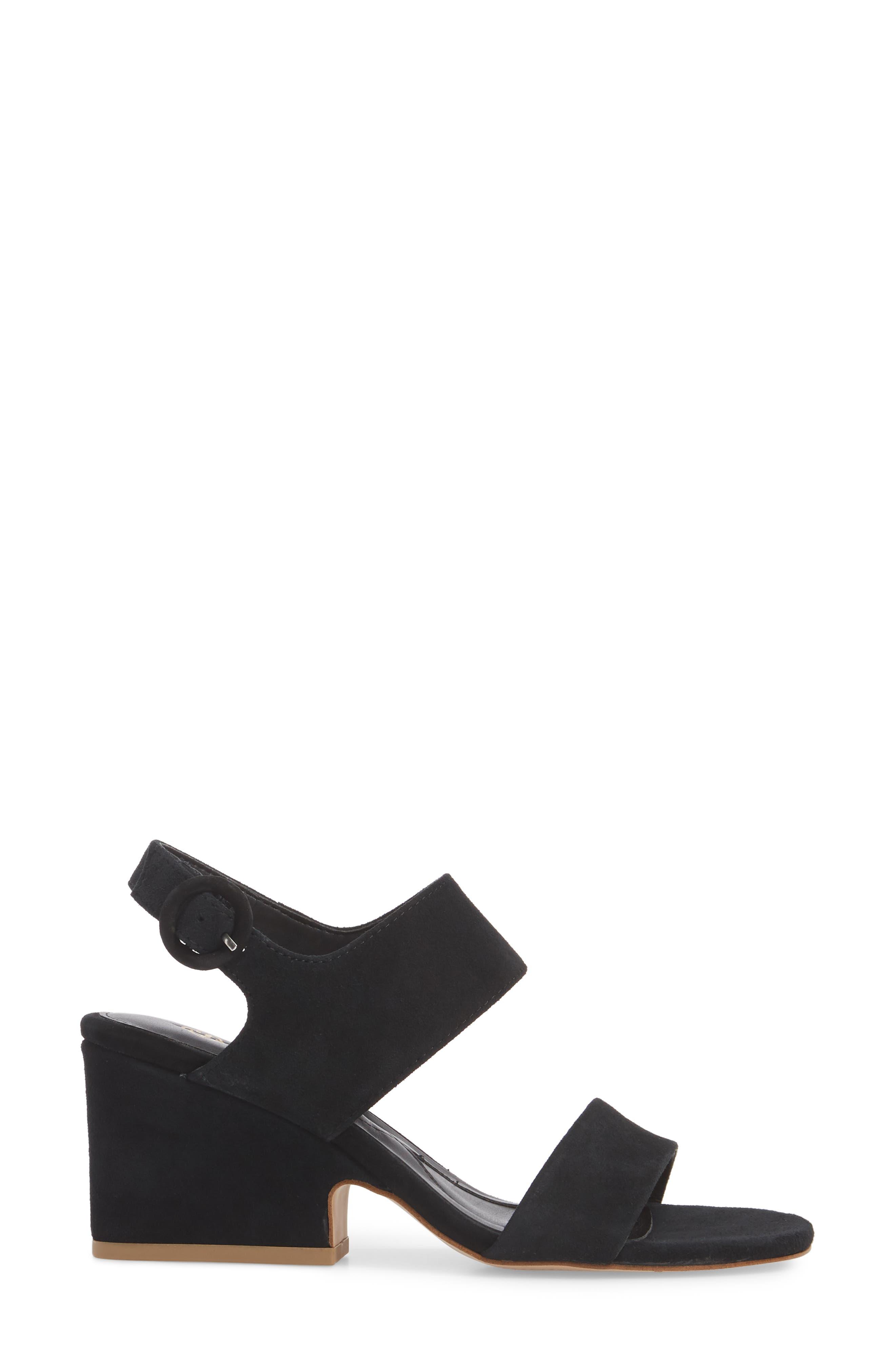 ,                             Isola Landra Block Heel Sandal,                             Alternate thumbnail 3, color,                             BLACK SUEDE