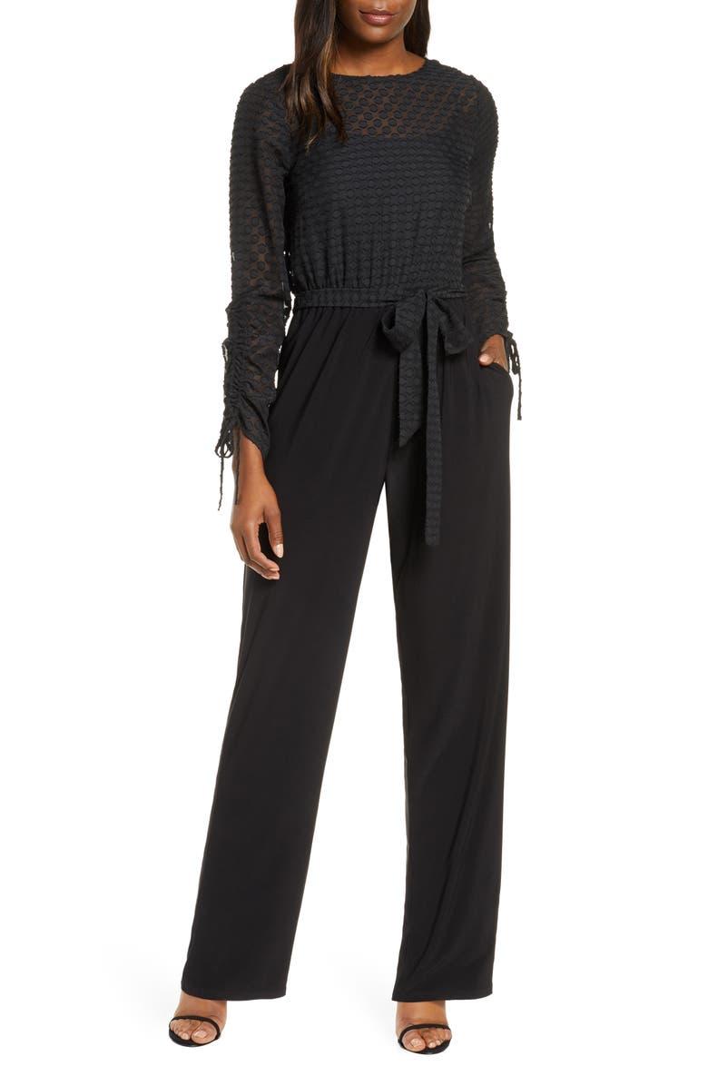 JULIA JORDAN Polka Dot Jumpsuit, Main, color, BLACK