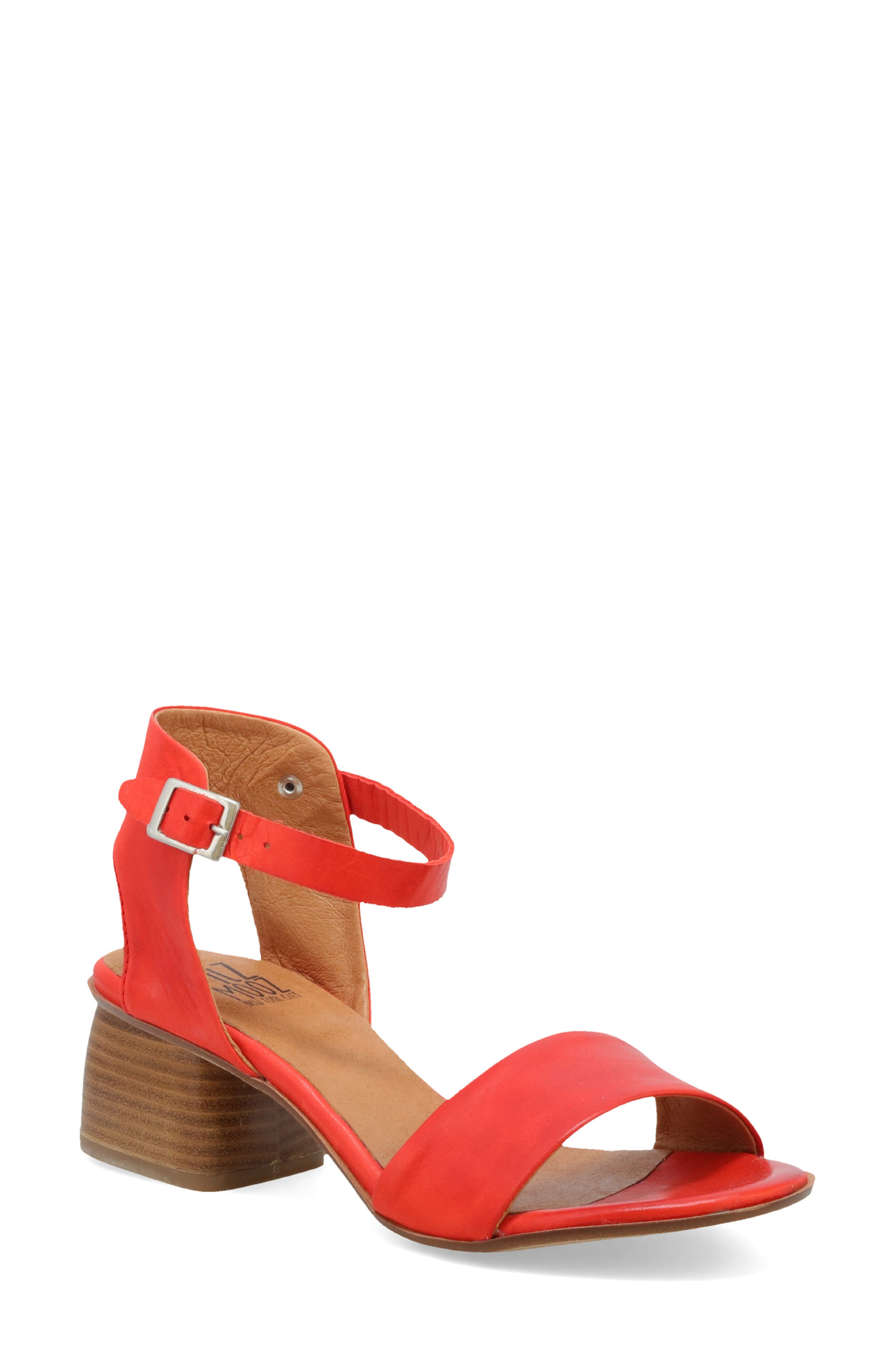 A contemporary stacked heel lifts a breezy sandal secured by a svelte strap at the ankle. Style Name: Miz Mooz Natalia Sandal (Women). Style Number: 5998693. Available in stores.