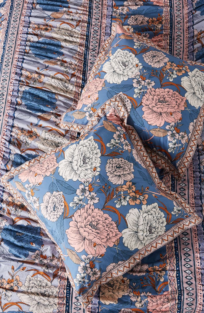 ANTHROPOLOGIE Tiled Garden Euro Sham, Main, color, MULTI BLUE