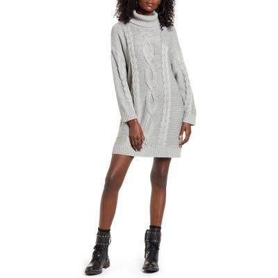Minkpink Janine Cable Long Sleeve Turtleneck Sweater Dress, Grey