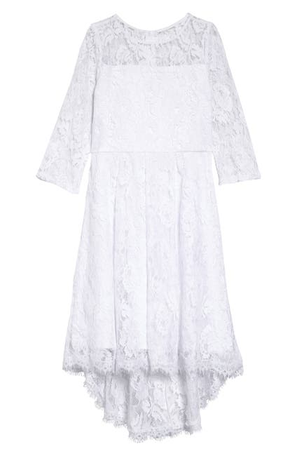 Image of Blush by Us Angels 3/4 Length Sleeve High-Low Lace Dress