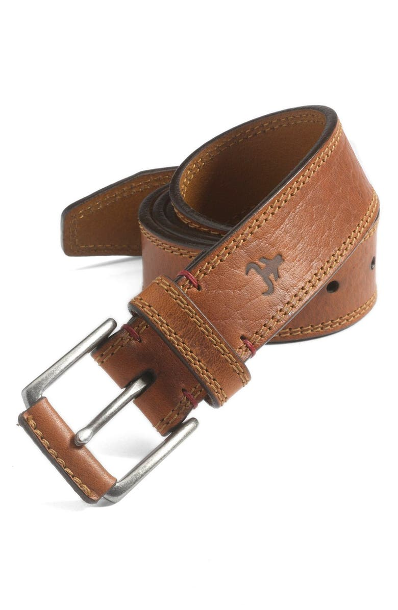 TRASK Gallatin Leather Belt, Main, color, SADDLE TAN BISON