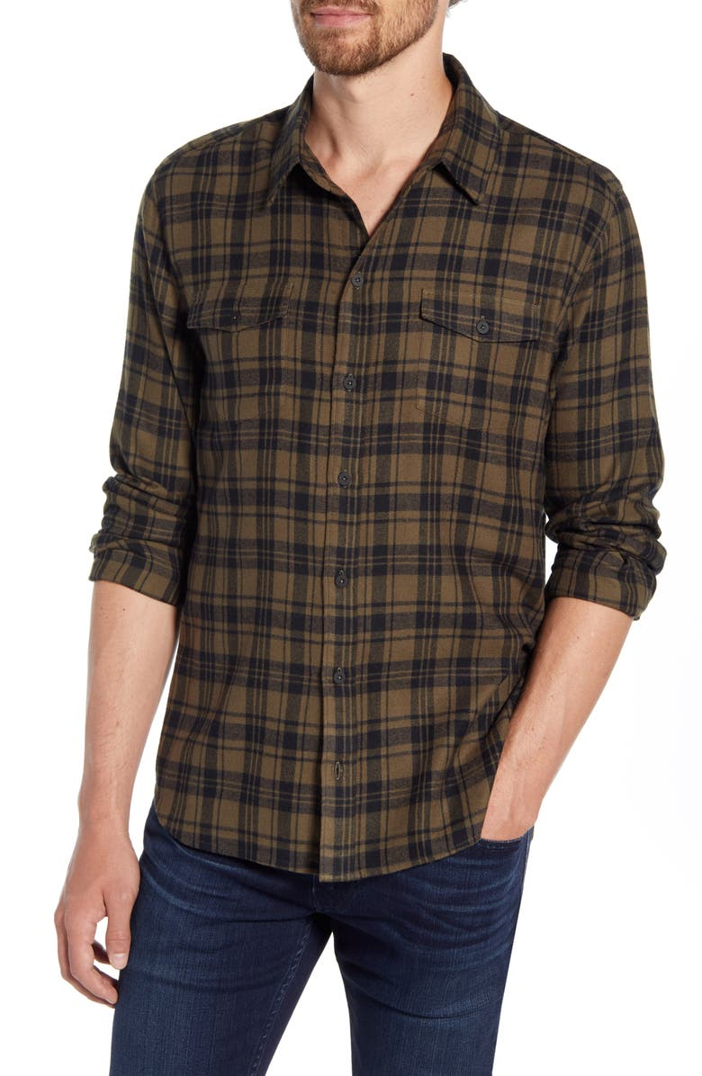 PAIGE Everett Slim Fit Plaid Button-Up Shirt, Main, color, SMOKED OLIVE