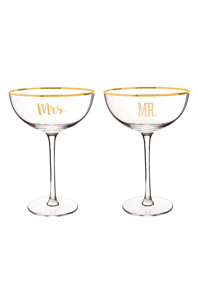 CATHY'S CONCEPTS Mr. & Mrs. Set of 2 Champagne Coupe Toasting Glasses, Main, color, 710