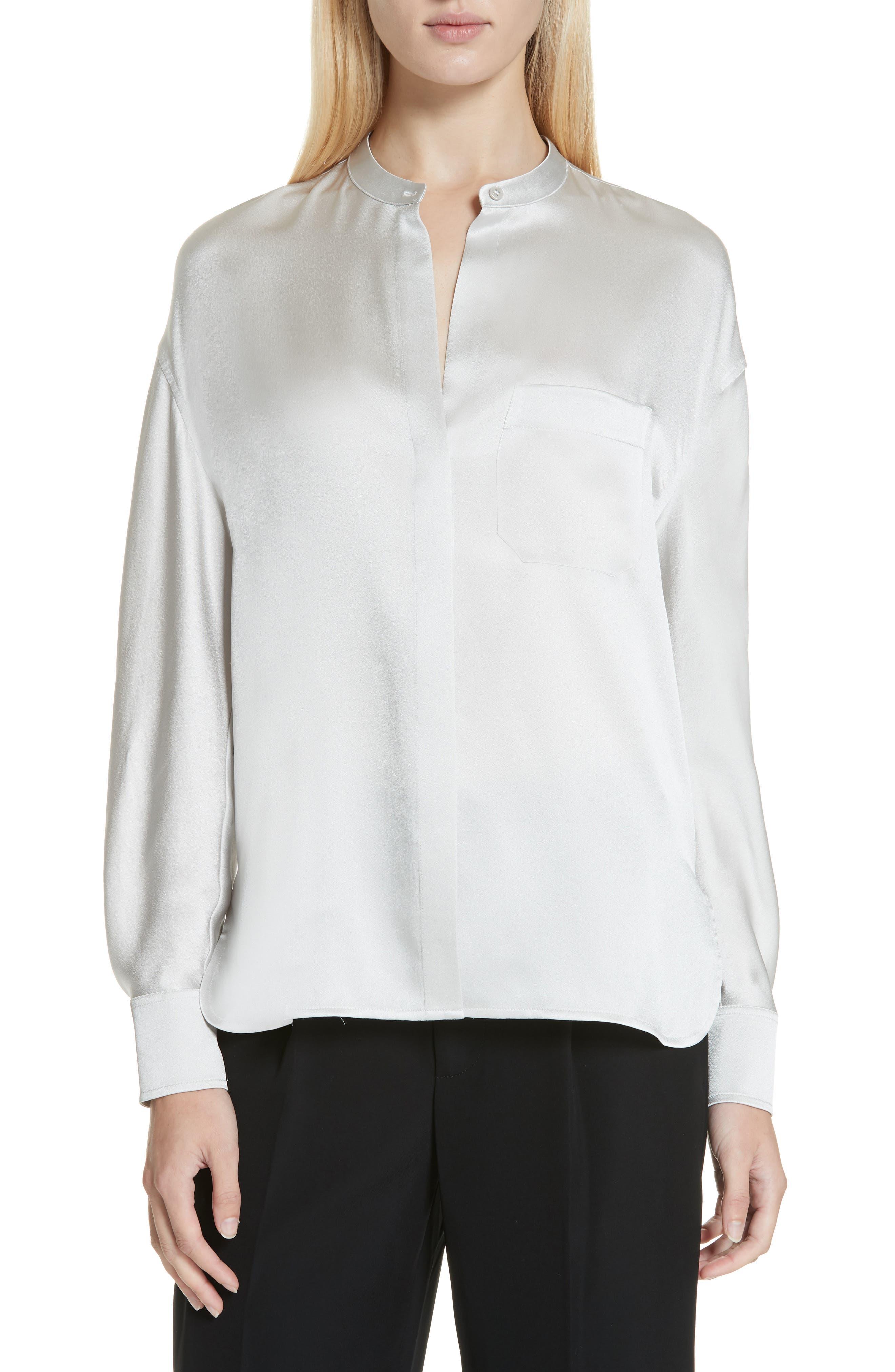 Band Collar Silk Blouse, Main, color, CELESTE