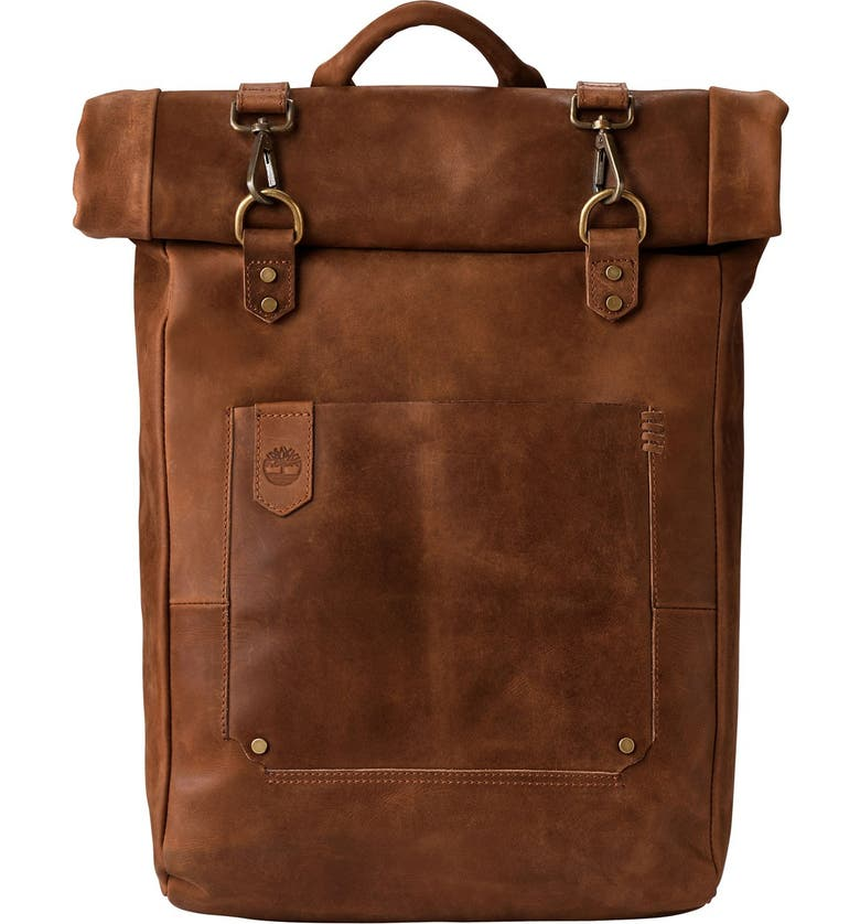 TIMBERLAND 'Walnut Hill' Leather Backpack, Main, color, 280