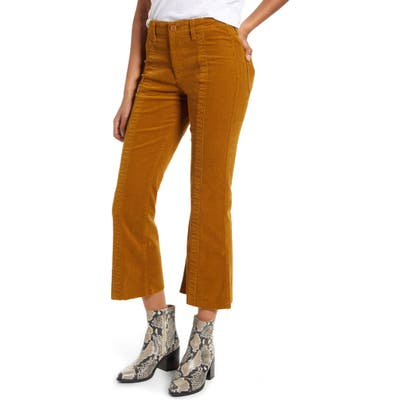 Ag Quinne Paneled Corduroy Crop Flare Pants, Yellow