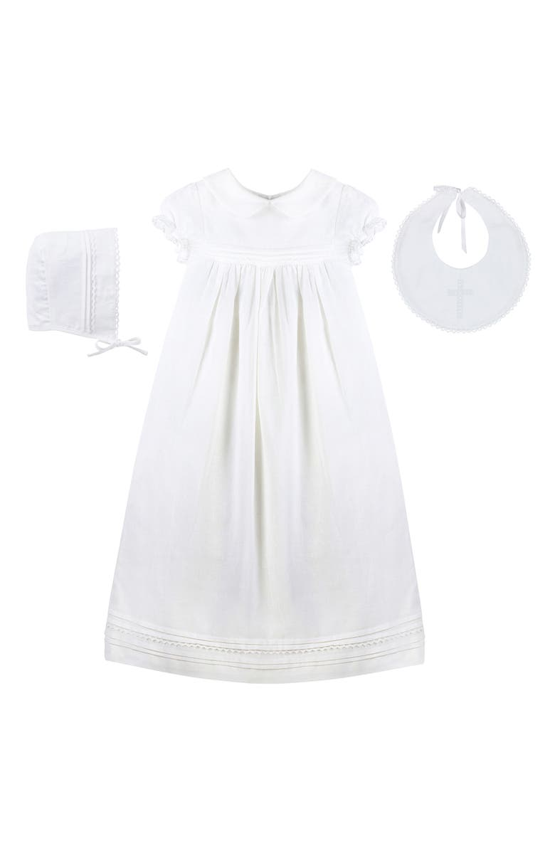 CARRIAGE BOUTIQUE 3-Piece Christening Set, Main, color, WHITE
