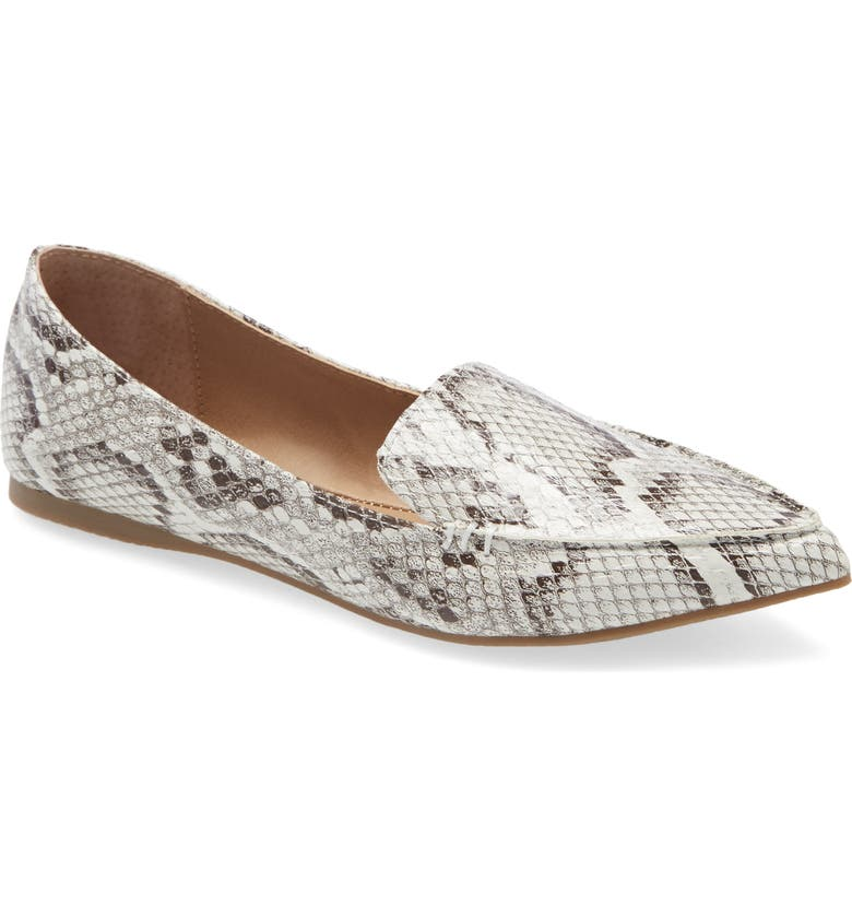 STEVE MADDEN Feather Loafer Flat, Main, color, BONE SNAKE PRINT