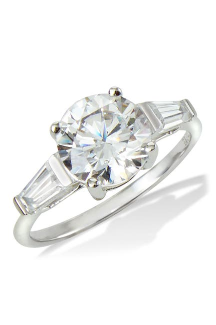 Image of Savvy Cie Sterling Silver Classic 3 CZ Stone Ring